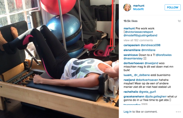 Martha Hunt stopped by ModelFit for a workout on the reformer. (Photo: Instagram/Martha Hunt)