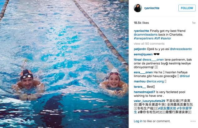Ryan Lochte hit the pool with a pal. (Photo: Instagram/Ryan Lochte)