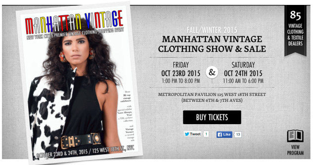 The Manhattan Vintage Clothing show is coming to Metropolitan West on 18th Street on October 23 and 24. (Photo: Manhattan Vintage)