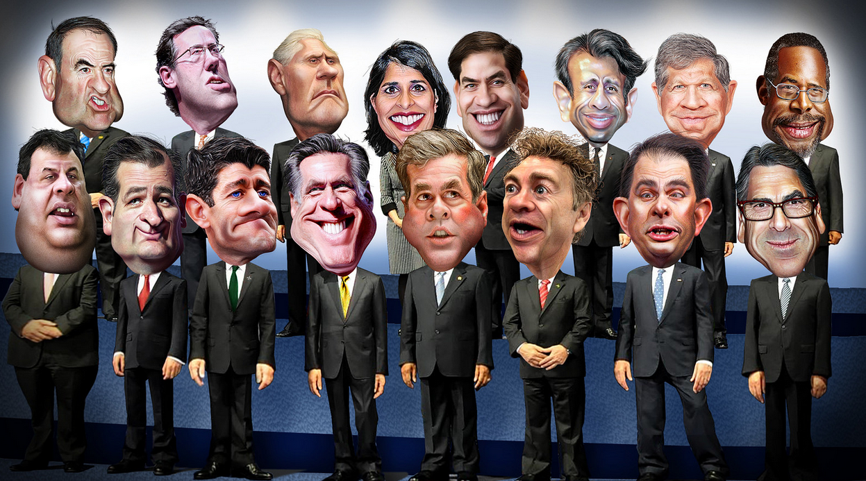 The Republican candidates. (Photo: Flickr/Donkey Hotey)