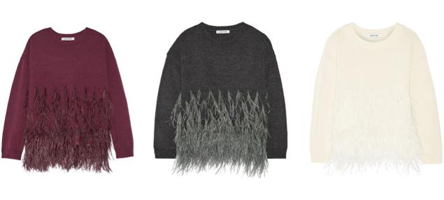 Elizabeth & James Feather-trimmed cotton-blend sweater, $485, Net-A-Porter.com (Photo: Courtesy Net-A-Porter).