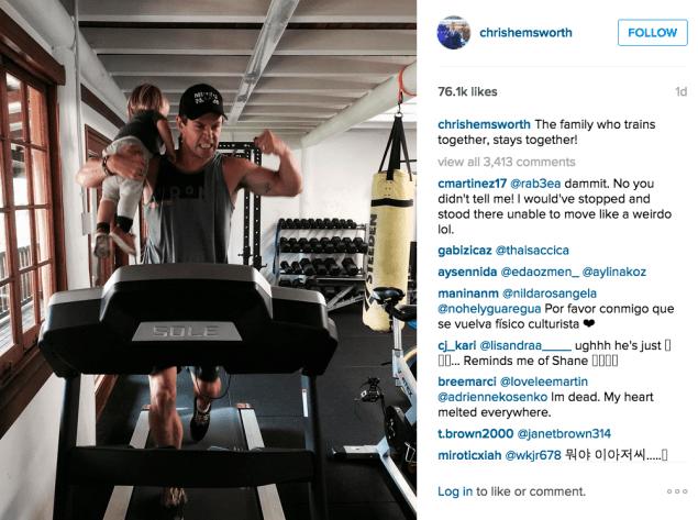 Chris Hemsworth makes working out a family affair. (Photo: Instagram/Chris Hemsworth)