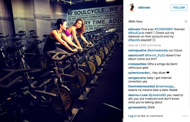 Demi Lovato rode at SoulCycle. (Photo: Instagram/Demi Lovato)