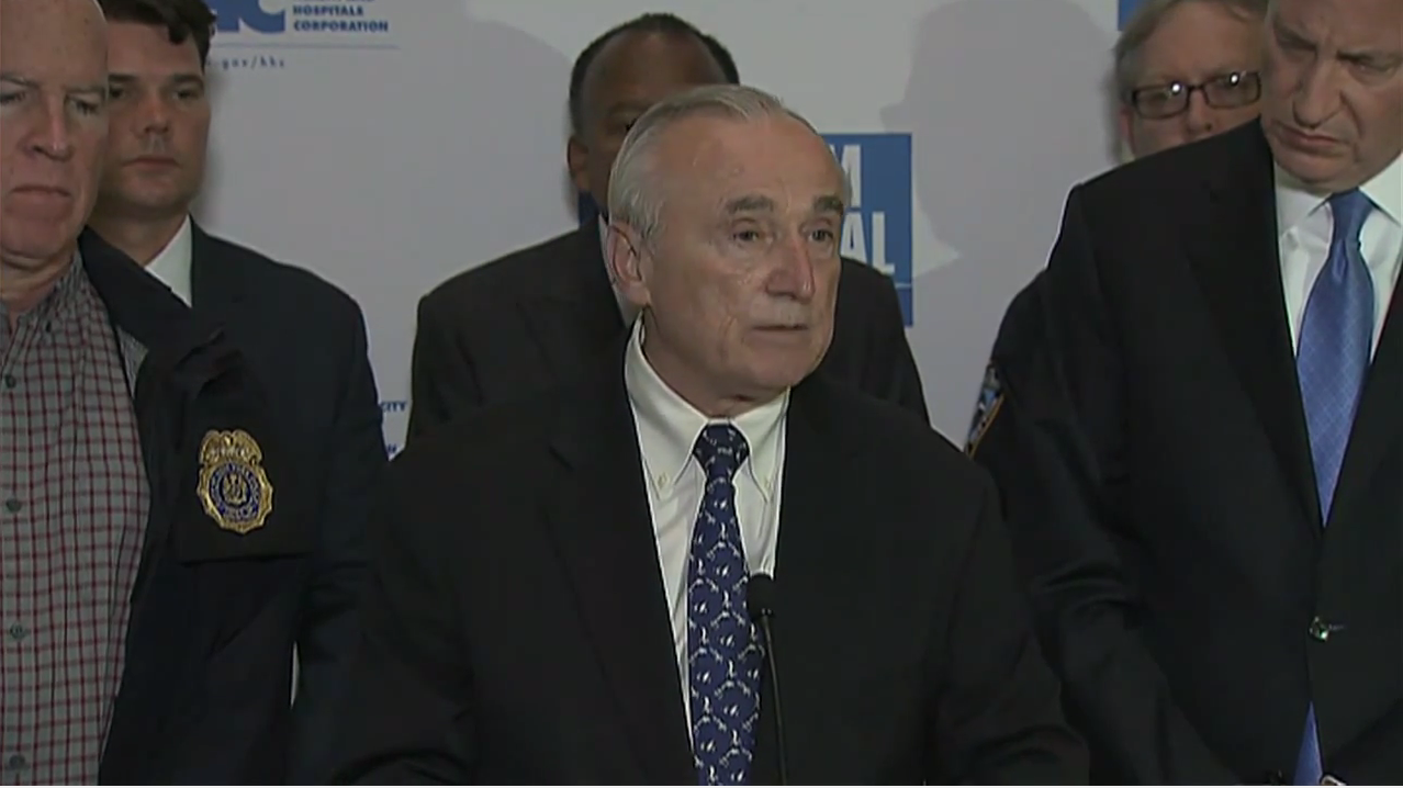 Police Commissioner Bill Bratton speaks about the death of Officer Randolph Holder last night. (Screengrab: NYC.gov)