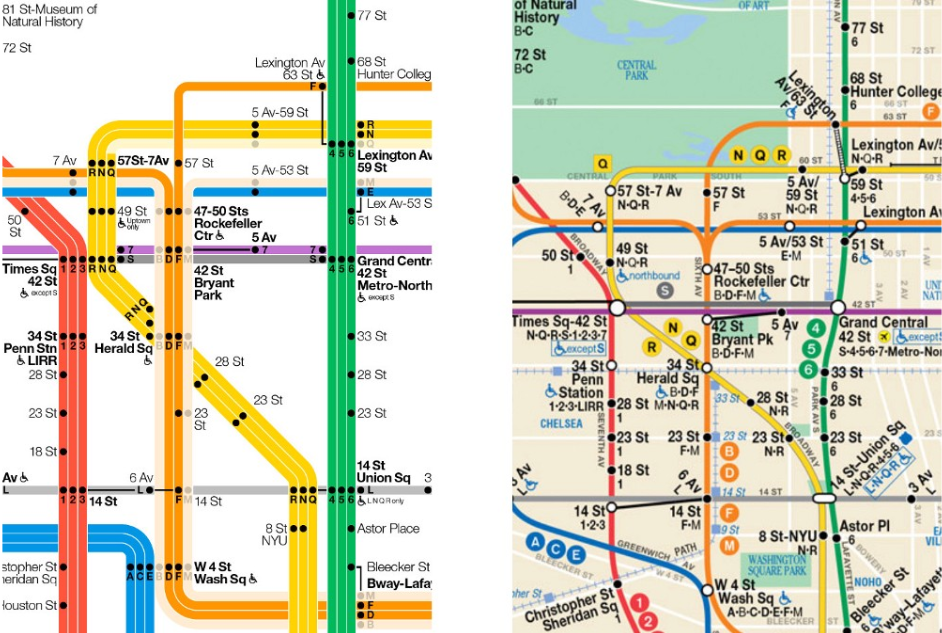 The Weekender map (Vignelli) on the left and the official map (Tauranac) on the right.
