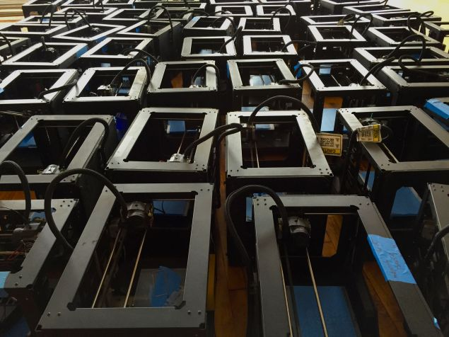 A sea of MakerBot Replicator 2 and Z10 printers at the Voodoo headquarters. (Photo: Voodoo manufacturing)