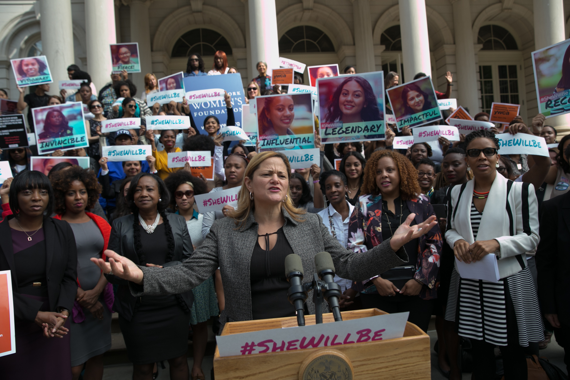 Council Speaker Melissa Mark-Viverito launches the Young Women's Initiative on the steps of City Hall. (Photo: William Alatriste for New York City Council)
