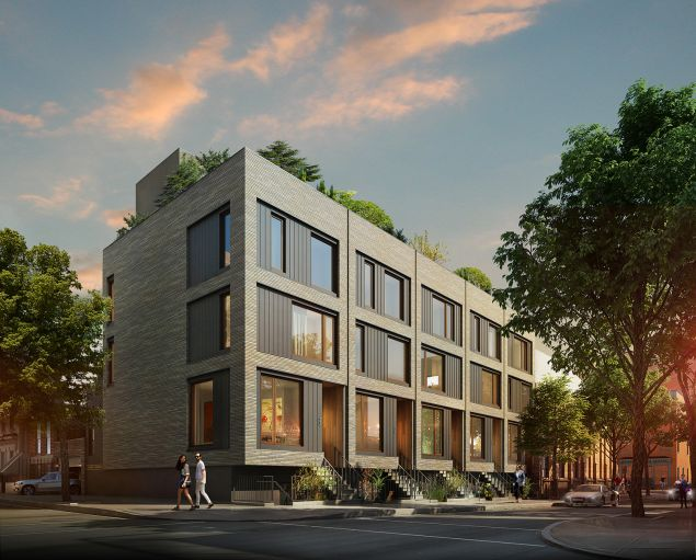 The new construction townhouses at State + Bond in Boerum Hill. (Photo: HPDM)