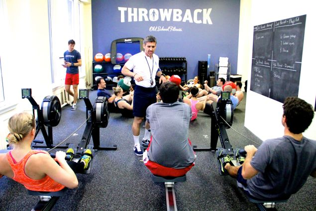 At Throwback Fitness, rowing is incorporated in gym class-inspired routines. (Photo: Courtesy Throwback Fitness)