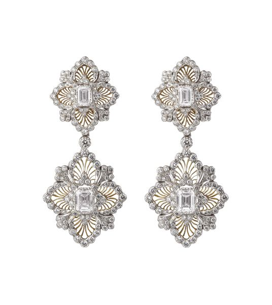 Buccellati Opera Pendant Earrings, 18K Yellow and White Gold, Diamonds, Price Upon Request, Buccellati.com Photo