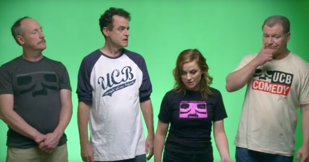The cast of The UCB Show: Matt Walsh, Matt Besser, Amy Poehler and Ian Roberts. (Seeso)