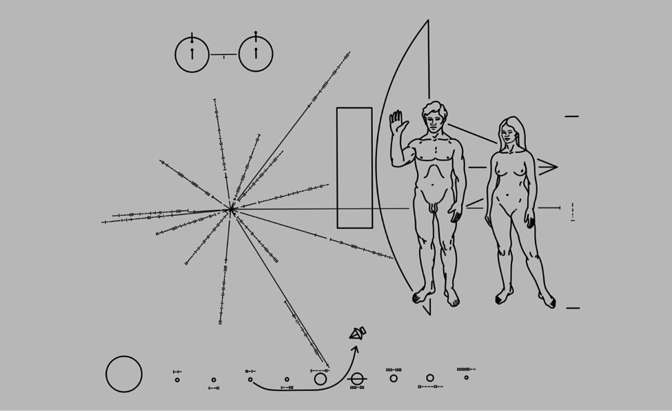 """An early plaque designed by Carl Sagan and Frank Drake as a brief but explanatory message of """"Hello"""" to an Extraterrestrial species. (Credit: NASA/JPL)"""