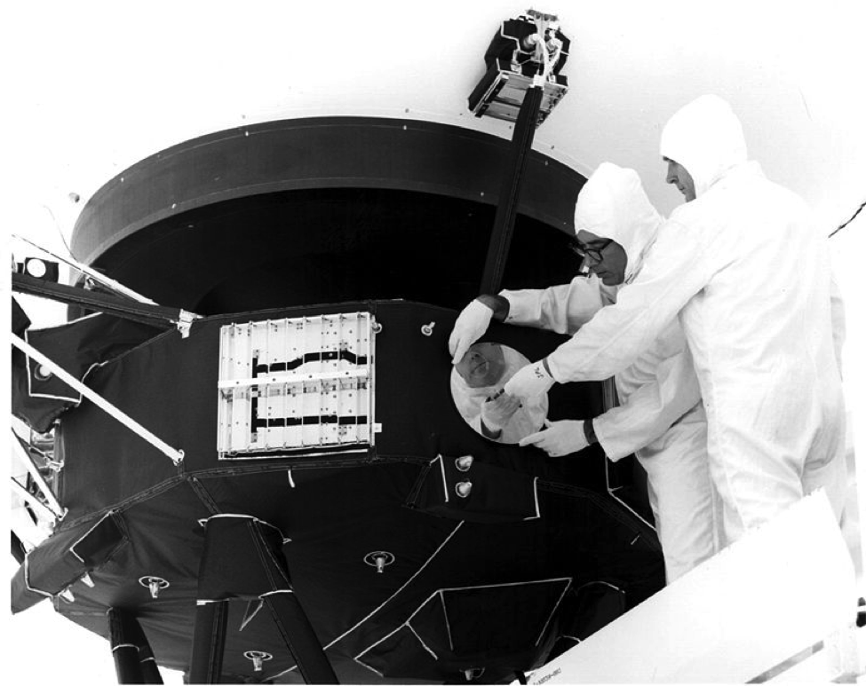 The Golden Record being attached to Voyager 1. (Credit: NASA/JPL)