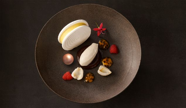 Pink pearl vacherin, tropical fruit mousse, lychee sorbet (Photo: Courtesy La Chine).