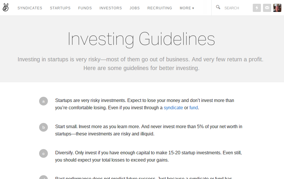 AngelList Investing Guidelines, including disclaimer