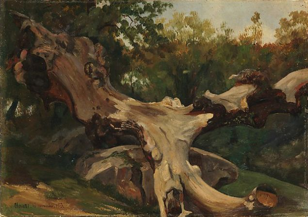 Antoine-Xavier-Gabriel de Gazeau, Uprooted Tree, Olevano, 1833. (Courtesy the Metropolitan Museum of Art and the Morgan Library & Museum, Gift of Eugene V. Thaw)
