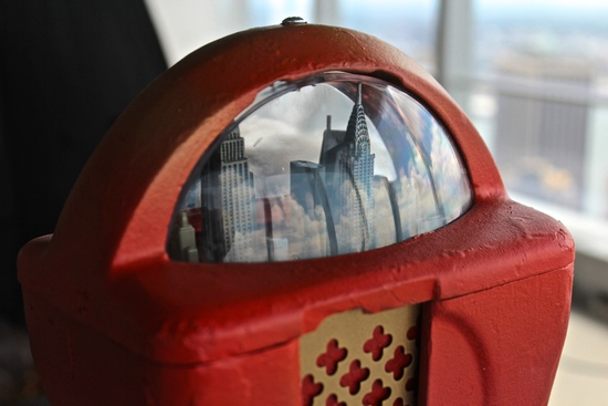 One of Conrad Stojak's earliest sculptures, a recreation of the New York City skyline in a parking meter. (Photo: Conrad Stojak)