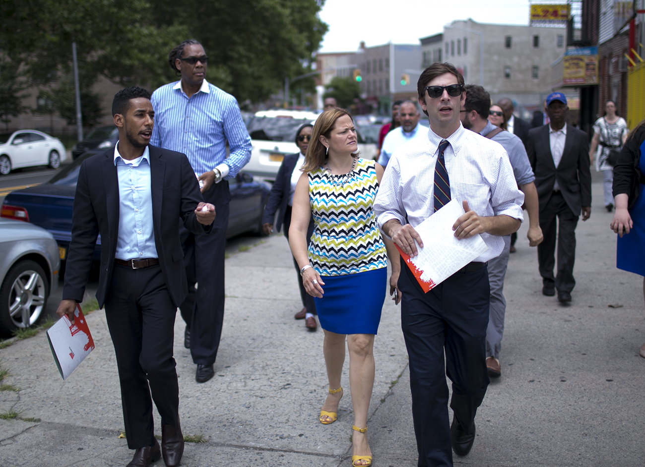 Council Speaker Melissa Mark-Viverito, center, tours an Industrial Business Zone with, from left, Council members Antonio Reynoso, Robert Cornegy, and Stephen Levin.