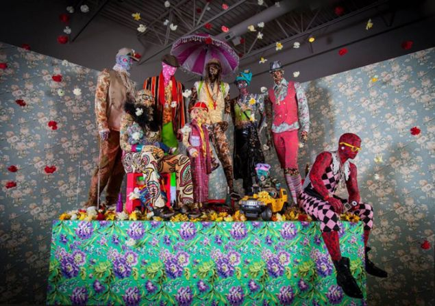 Ebony G. Patterson, Swag Swag Swag (from the Out and Bad series) installation view, John Michael Kohler Arts Center, 2011-14. (Photo: Courtesy of the artist and Monique Meloche Gallery, Ill. Photo by John Michael Kohler Arts Center)