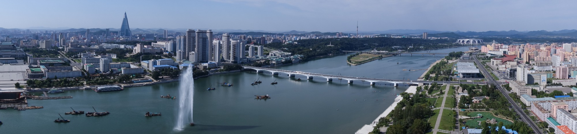 Taedong River as seen from the top of Juche Tower