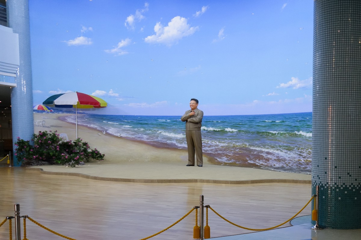 Statue of Kim Jong Il at the Pyongyang water park