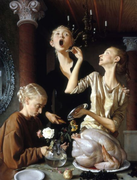 John Currin, Thanksgiving, 2003. (Photo: Courtesy of the Tate)