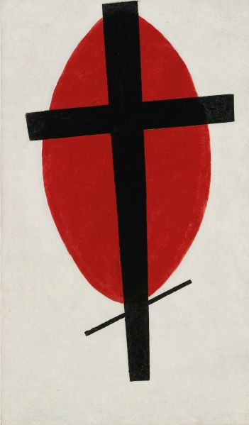Kazimir Malevich, Mystic Suprematism (Black Cross on Red Oval), (1920-22). (Photo: Sotheby's)
