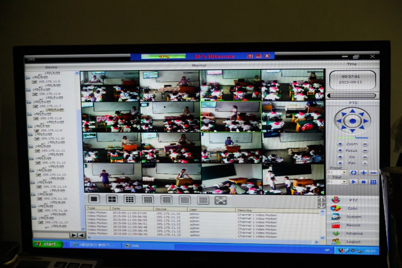 Video surveillance in every classroom at a primary school in Pyongsong