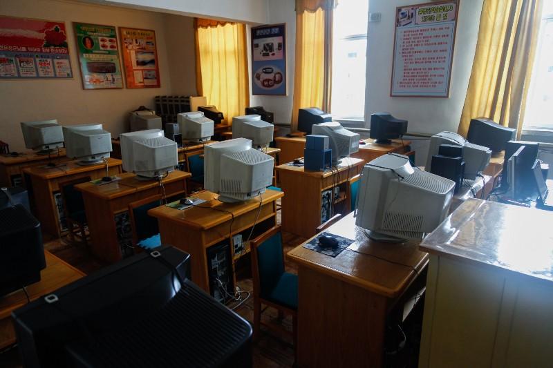 Empty computer room in a primary school in Pyongsong
