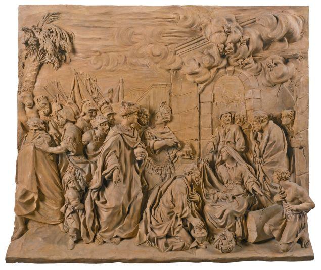 Girolamo Ticciati (1671-1744) Italian, Florence, first half 18th century RELIEF WITH THE ADORATION OF THE MAGI. Est. $107,429-153,470.