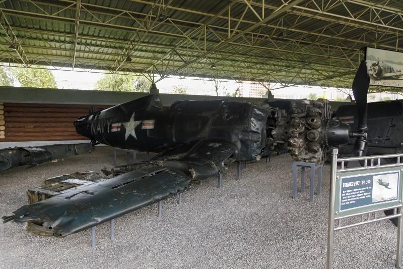 Battered US warplanes and tanks at the Korean War Museum