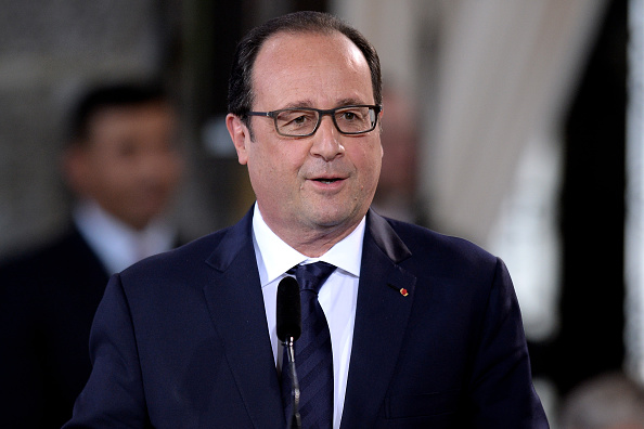 AACHEN, GERMANY - MAY 14: French President Francois Hollande speaks during the International Charlemange Prize Of Aachen 2015 (Der Internationale Karlspreis zu Aachen) on May 14, 2015 in Aachen, Germany. The International Charlemagne Prize, one of the most prestigious European prizes, is awarded once a year since 1950 by the city of Aachen to people for distinguished service on behalf of European unification. (Photo by Sascha Steinbach/Getty Images)