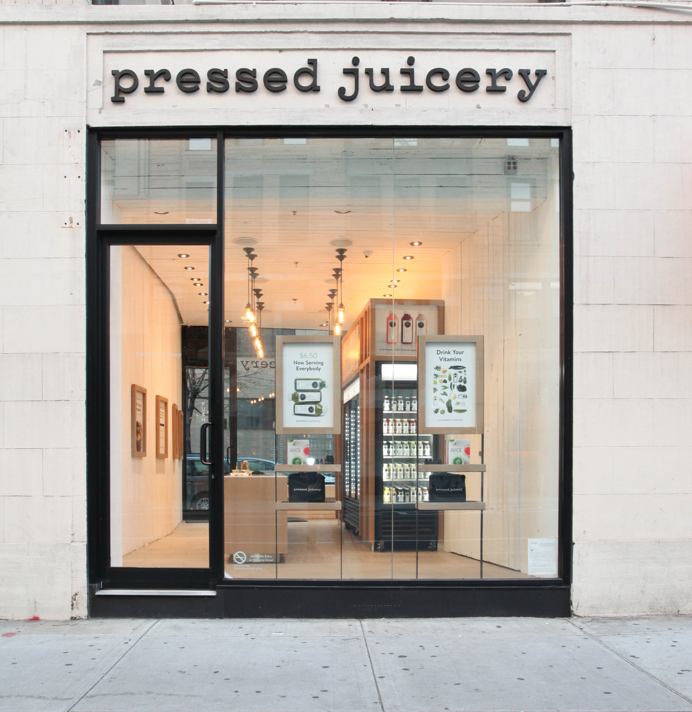 NEW YORK, NY - NOVEMBER 04: Pressed Juicery NYC Store Interiors at Pressed Juicery on November 4, 2015 in New York City. (Photo by Donald Bowers/Getty Images for Pressed Juicery)
