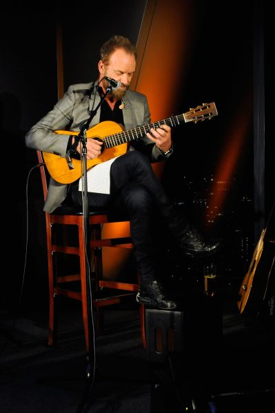 """NEW YORK, NY - NOVEMBER 16: Musician Sting performs as Stephen Hannock & Sting celebrate their new book """"The Last Ship"""" at Hearst Tower on November 16, 2015 in New York City. (Photo by Rabbani and Solimene Photography/Getty Images for Hearst)"""