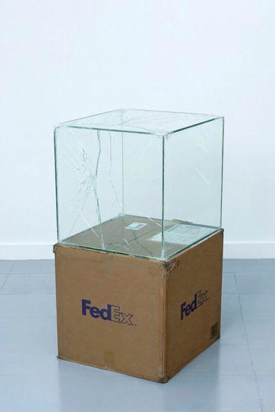 Walead Beshty, FedEx Large Kraft Box  2005 FEDEX 330508 REV 10/05 SSCC, International Priority, Los Angeles–Brussels trk#865282057975, October 27–30, 2008, International Priority, Brussels–Los Angeles trk#866071746396, December 8-9, 2008, Standard Overnight, Los Angeles–New York trk#774901659423, November 4–5, 2015, 2008. (Photo: Courtesy of the artist and Petzel, New York)