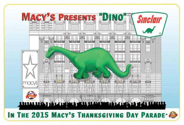 Sinclair's Dino, Macy's Thanksgiving Day Parade, 2015. (Image: Courtesy Macy's)