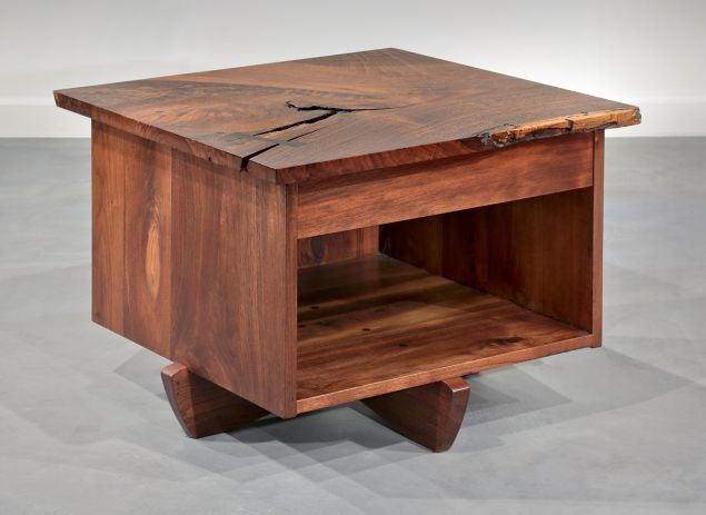 Moderne Gallery of Philadelphia is bringing George Nakashima's Oversized Swett Stand. Cut from American walnut, it shows the designer's signature use of wood with knots and burls and edges left unfinished. It's $85,000 for the pair. (PHOTO: Courtesy Gallery Moderne)