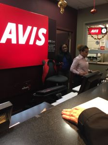 Avis reservation agent Angelline (white shirt) and her manager Shamoura declined to rent a car to an Israeli executive. Both refused to provide their last names.