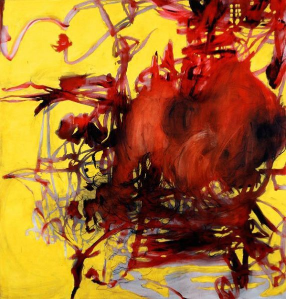 Charline von Heyl, Boogey, 2004. Acrylic, oil, and charcoal on canvas. 82 1/16 × 78 1/8 (208.4 × 198.4) Promised gift of Thea Westreich Wagner and Ethan Wagner P.2011.472. Courtesy of the artist and Petzel, New York