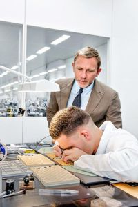 Daniel Craig visits the OMEGA Factory