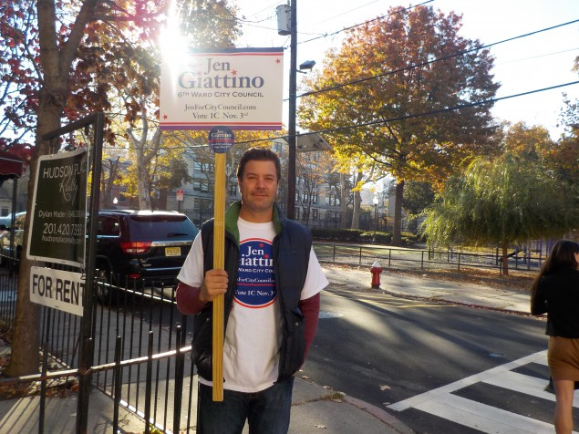Giattino's brother canvasses for the councilwoman.