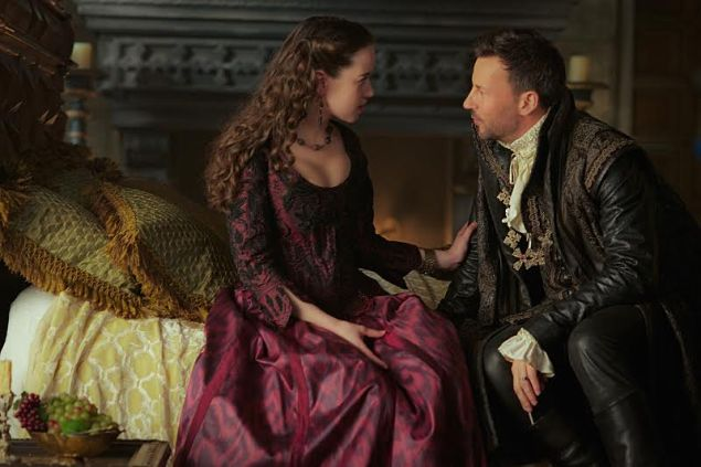 "Reign -- ""The Hound and the Hare"" -- Image Number: RE307a_0049.jpg -- Pictured (L-R): Anna Popplewell as Lola and Craig Parker as Narcisse Photo 3: On Lola- Bodice: Les Habitudes, Skirt: Custom made Ikat print (Photo: Sven Frenzel/The CW)"