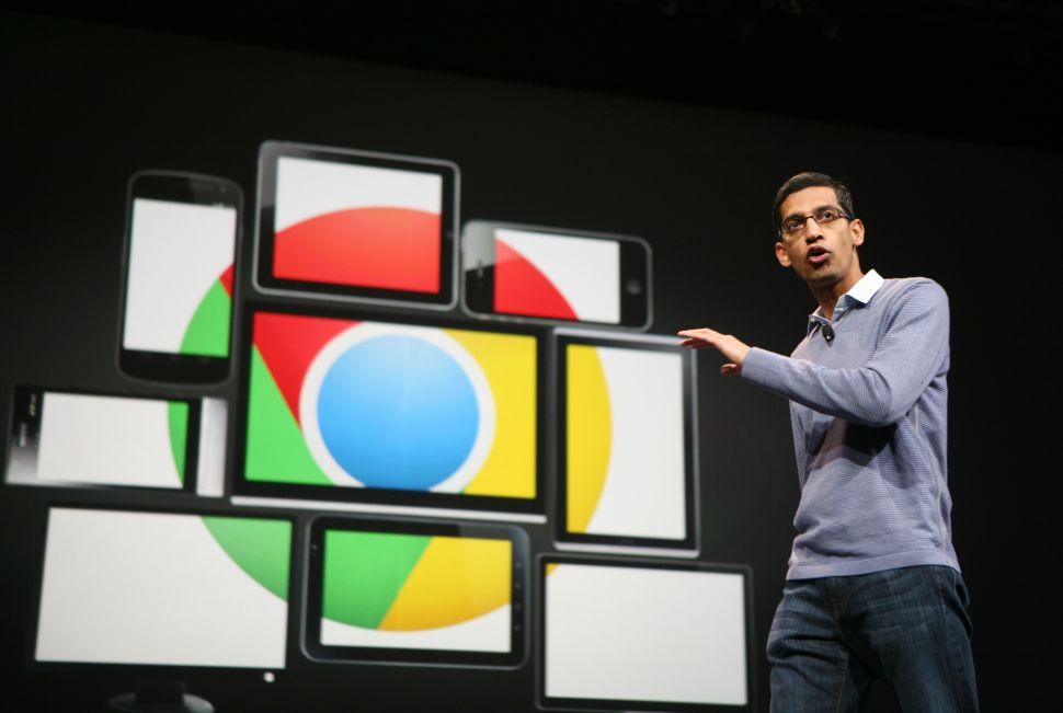 Sundar Pichai, then senior vice president of Chrome, speaks at Google's annual developer conference, Google I/O, in San Francisco on June 28, 2012. AFP PHOTO/Kimihiro Hoshino. (Photo: KIMIHIRO HOSHINO/AFP/Getty)