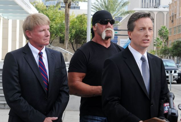 TAMPA, FL - OCTOBER 15: TV personality Terry Bollea aka Hulk Hogan(C) and his attorneys David Houston (L) and Charles Harder (R) attend for a press conference to discuss legal action being brought on his behalf October 15, 2012 in Tampa, Florida. Counsel will discuss the two civil lawsuits suits being filed today. The first is a state court action against Heather Clem and Bubba the Love Sponge Clem. The second is a federal court action against Gawker Media. (Photo by Gerardo Mora/Getty Images)