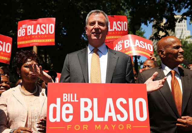 Mayor Bill de Blasio during his 2013 campaign. (Photo: Spencer Platt for Getty Images)