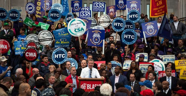 Mr. de Blasio speaks at a campaign rally in 2013. (Photo: by Andrew Burton for Getty Images)