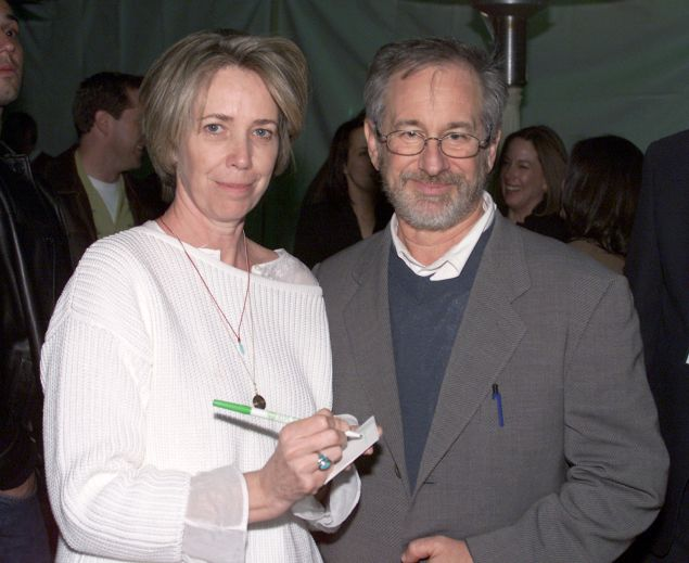 "Melissa Mathison and Steven Spielberg at the 20th anniversary of ""E.T. The Extraterrestrial in 2002. (photo by Kevin Winter/Getty Images)"