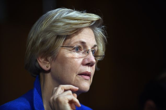 WASHINGTON, DC - JULY 29: Sen. Elizabeth Warren (D-MA) listens during a hearing of the Senate Health, Education, Labor, and Pensions Committee on July 29, 2015 in Washington, DC. The committee is examining the reauthorization of the Higher Education Act, focusing on combating campus sexual assault. (Photo by Astrid Riecken/Getty Images)