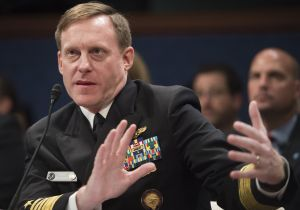 NSA Director Admiral Michael Rogers testifies during a US House Committee on Intelligence hearing on Capitol Hill in Washington, DC, September 10, 2015. The committee held the hearing to examine worldwide cyber threats. AFP PHOTO / SAUL LOEB (Photo credit should read SAUL LOEB/AFP/Getty Images)