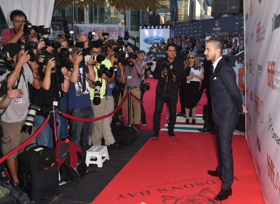 "TORONTO, ON - SEPTEMBER 15: Actor Shia LaBeouf attends the ""Man Down"" premiere during the 2015 Toronto International Film Festival at Roy Thomson Hall on September 15, 2015 in Toronto, Canada. (Photo by Kevin Winter/Getty Images)"